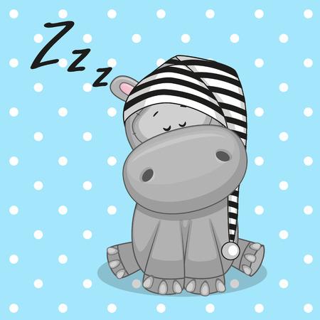 hipopotamo caricatura: Dormir hipopótamo con una gorra Vectores