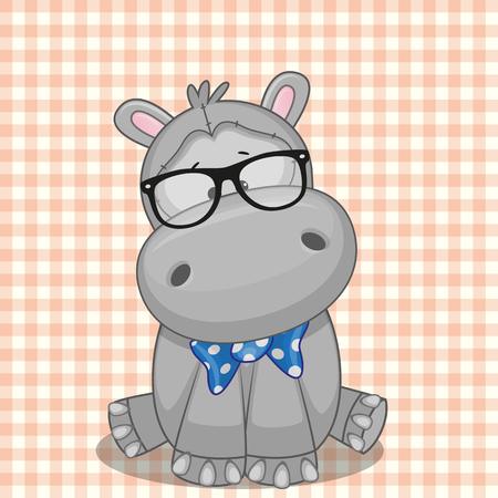 teenagers only: Hipster Hippo on a plaid background Illustration