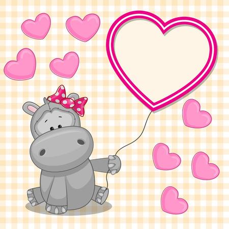 발렌타인 데이 카드와 하마 심장 프레임