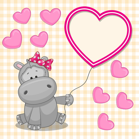 Valentine card with Hippo with heart frame
