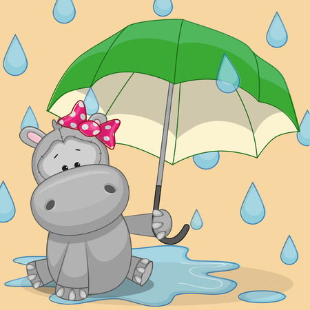Greeting card Hippo with umbrella Illustration