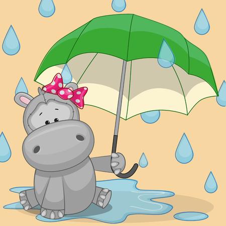 lluvia paraguas: Tarjeta de felicitaci�n del hipop�tamo con el paraguas Vectores