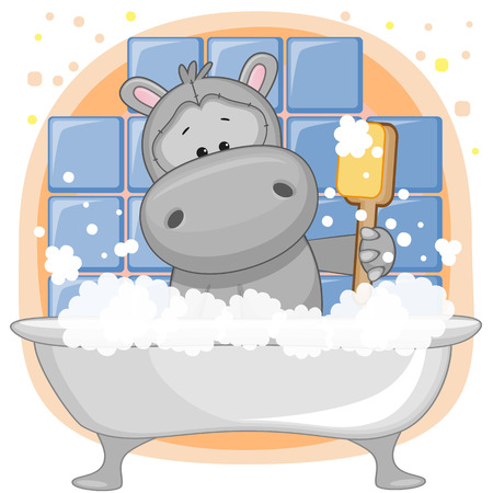 Cute cartoon Hippo in the bathroom