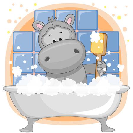 Cute cartoon Hippo in the bathroom
