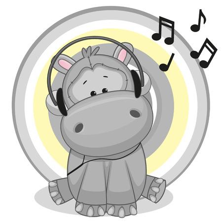 hipopotamo dibujos animados: Hipopótamo lindo de la historieta con los auriculares