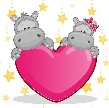 hipopotamo dibujos animados: Tarjeta de San Valentín con los amantes de los hipopótamos
