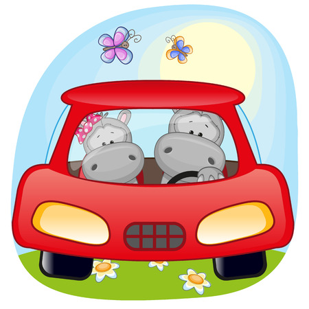 hippo cartoon: Two Hippos is sitting in a car Illustration