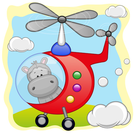 Hippo is flying in a helicopter