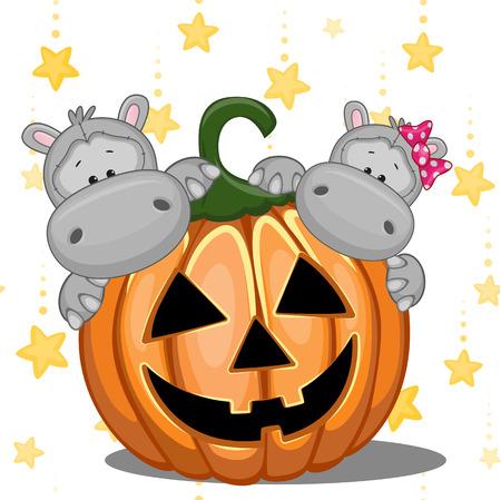 hipopotamo caricatura: De Halloween ilustración de dos hipopótamos de la historieta con calabazas