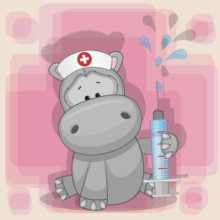 彼の手に注射器でカバ看護師