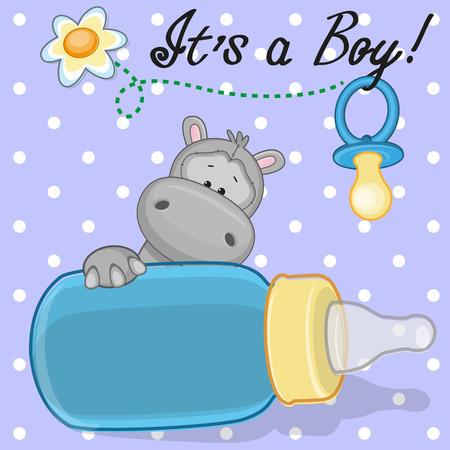 Cute Hippo with feeding bottle Vector