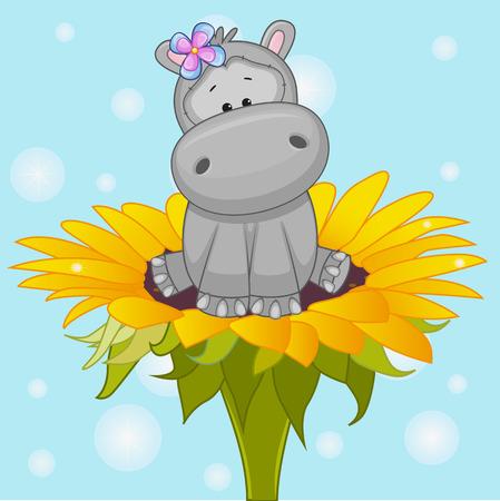 hippopotamus: Hipopótamo lindo de la historieta en la flor