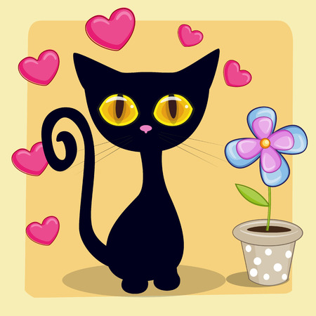 Greeting card Black kitten with heart and flower Vector
