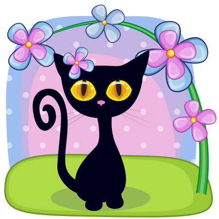Greeting card Black kitten with flowers Vector