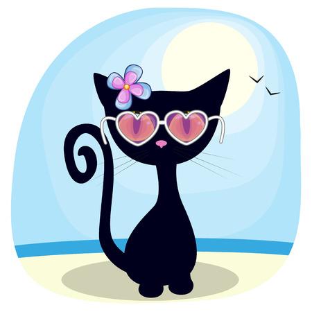 Cute Black kitten girl in sunglasses on the beach Vector