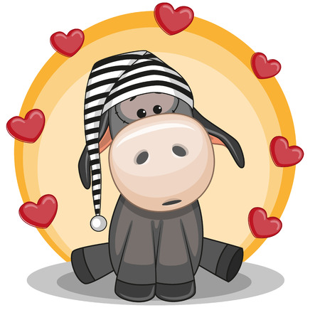 sad love: Cute Donkey in hat with hearts