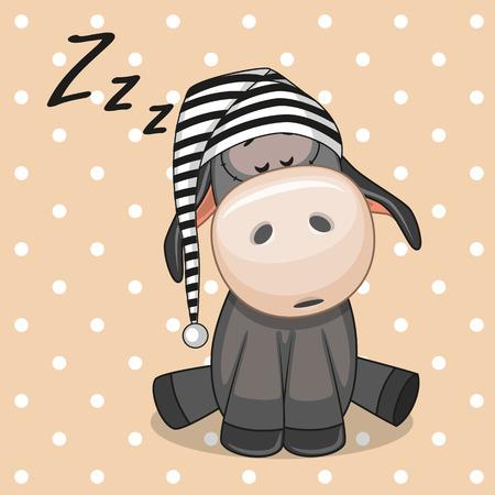 sleeping: Sleeping Donkey in a cap
