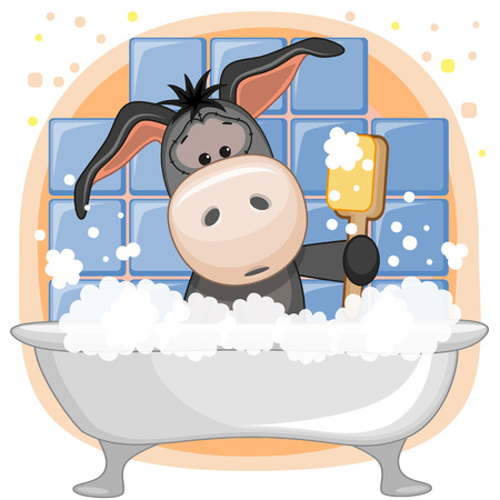 Cute cartoon Donkey in the bathroom Vector