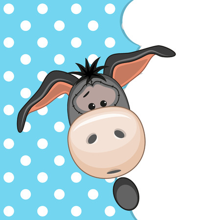 Donkey peeking out from behind the clouds Vector