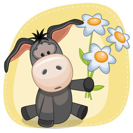 donkey: Greeting card Donkey with flowers