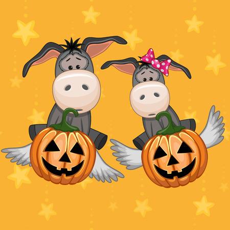 Halloween illustration two Cartoon Donkeys with pumpkins Vector