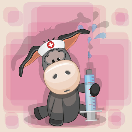 health cartoons: Donkey nurse with a syringe in his hand