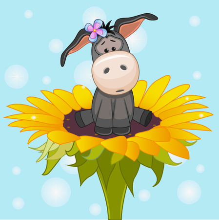Cute cartoon Donkey on the flower Vector