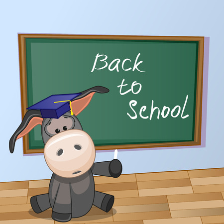 Cartoon Donkey wrote chalk on a blackboard Vector