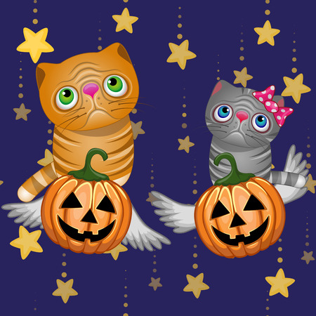 dedicate: Halloween illustration two Cartoon Cats with pumpkins Illustration