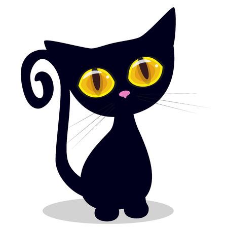 animal eye: Cat carino isolato su uno sfondo bianco Vettoriali