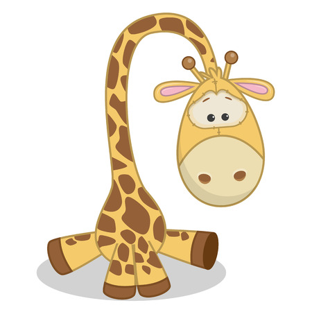 a small painting: Cute Giraffe isolated on a white background Illustration