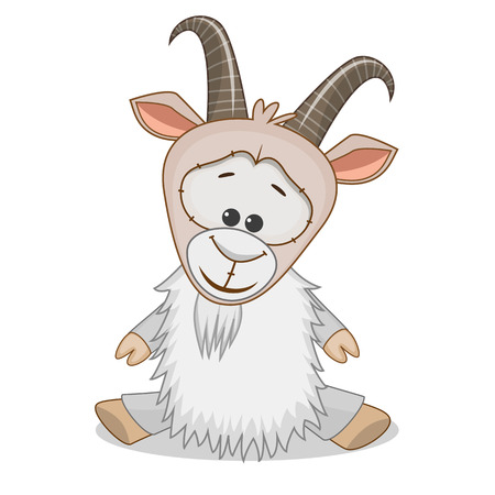 cute cartoons: Cute Goat isolated on a white background Illustration