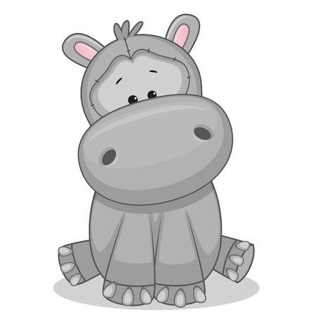 caricaturas de animales: Hipopótamo lindo aislado en un fondo blanco