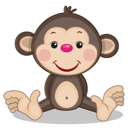 caricaturas de animales: Mono lindo aislado en un fondo blanco