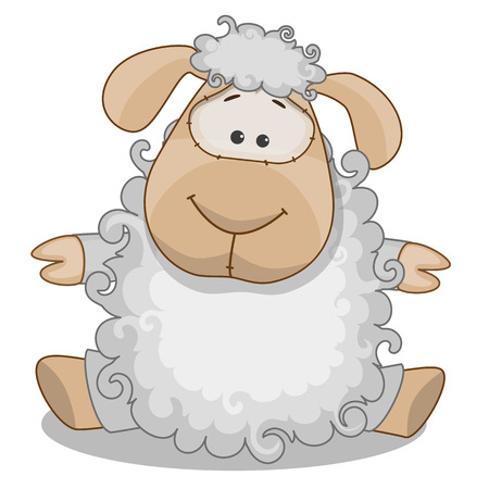 sheep skin: Cute Sheep isolated on a white background