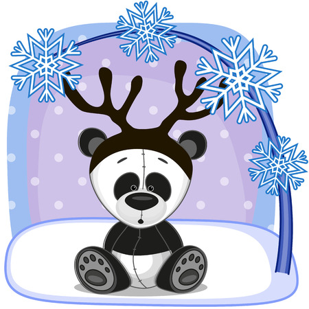 Christmas illustration of cartoon Panda with antlers Vector