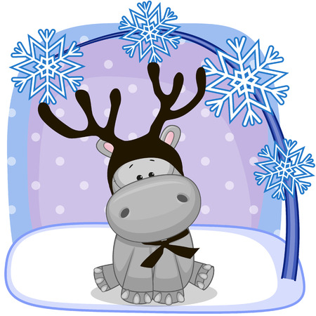 Christmas illustration of cartoon Hippo with antlers