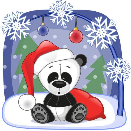 Christmas illustration of cartoon Santa Panda Vector