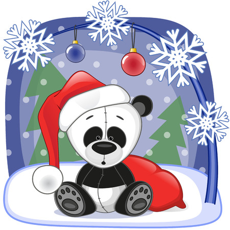 new years day: Christmas illustration of cartoon Santa Panda