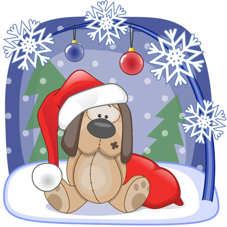 Christmas illustration of cartoon Santa Dog Vector