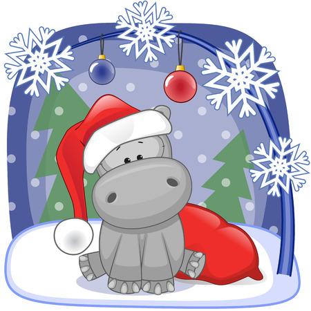 hippopotamus: Christmas illustration of cartoon Santa Hippo