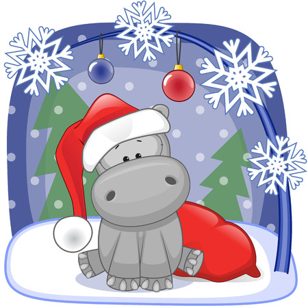 hippopotamus: Ilustración de Navidad de dibujos animados de Santa Hipona Vectores