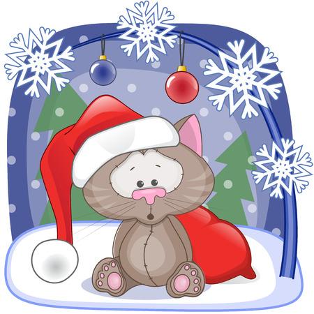 Christmas illustration of cartoon Santa Cat Vector