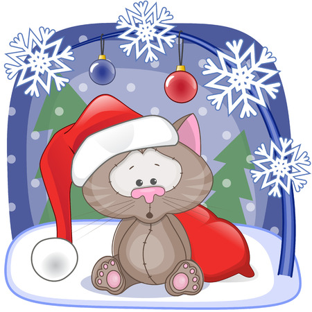 cartoon  cat: Christmas illustration of cartoon Santa Cat Illustration