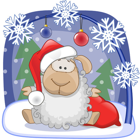 Christmas illustration of cartoon Santa Sheep Vector