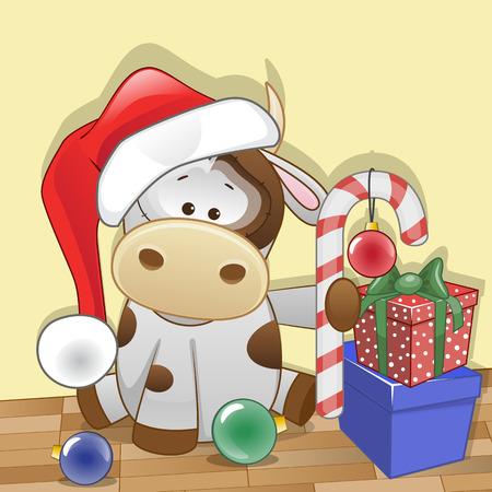 Christmas illustration of cartoon Santa Cow