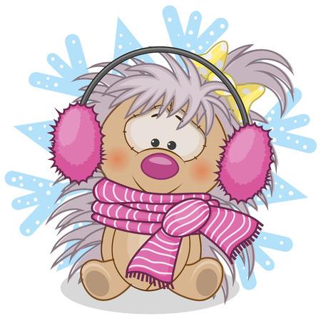 Hedgehog in a fur headphones on the background of snowflake Vector
