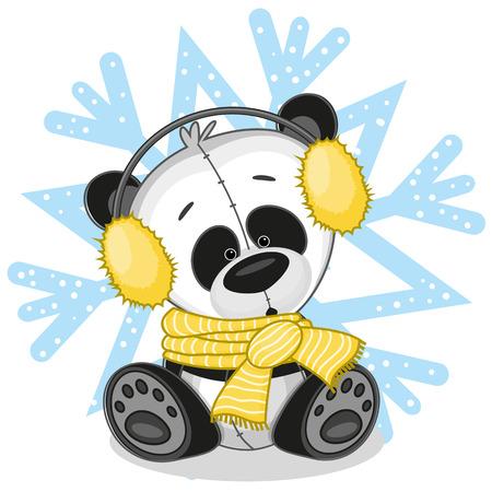 fur: Panda in a fur headphones on the background of snowflake