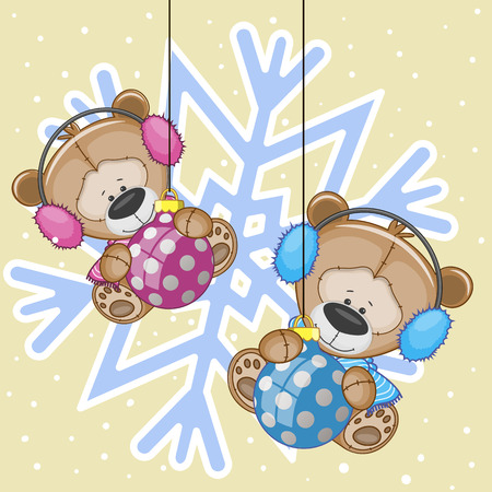 Two Teddy Bears in a fur headphones on the backgroun of snowflake Vector
