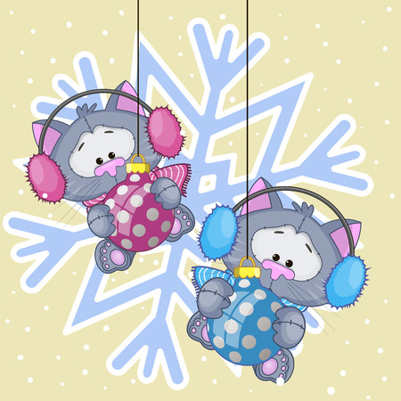 Two Cats in a fur headphones on the background of snowflake Vector